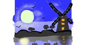 Windmill drawing by Lori