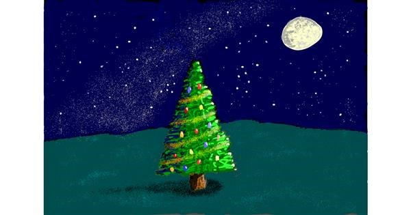 Christmas tree drawing by Sam