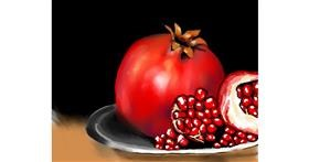 Pomegranate drawing by Cec