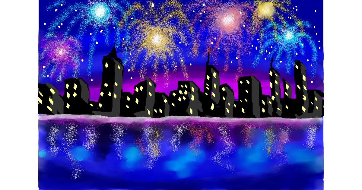 Fireworks drawing by Debidolittle