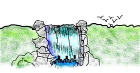 Waterfall drawing by Turtle