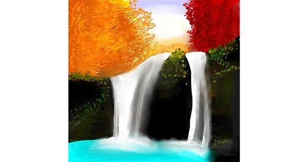 Waterfall drawing by Emit