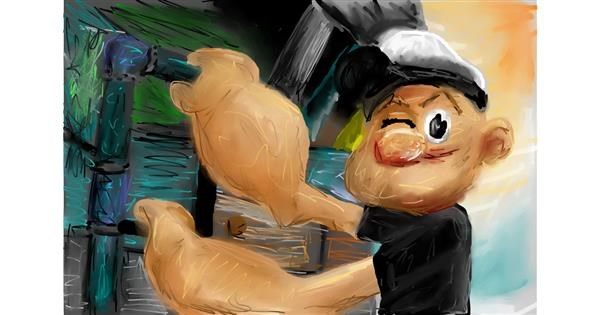 Popeye drawing by Soaring Sunshine