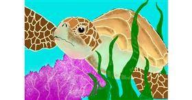 Sea turtle drawing by Debidolittle
