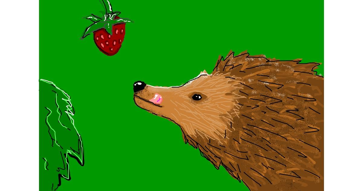 Hedgehog drawing by Stegosaurus