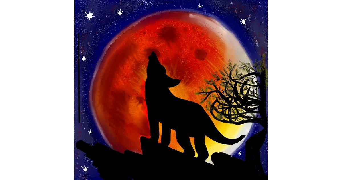 Drawing of Moon by Gzell