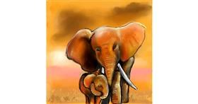 Elephant drawing by Leah