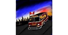Firetruck drawing by Leah