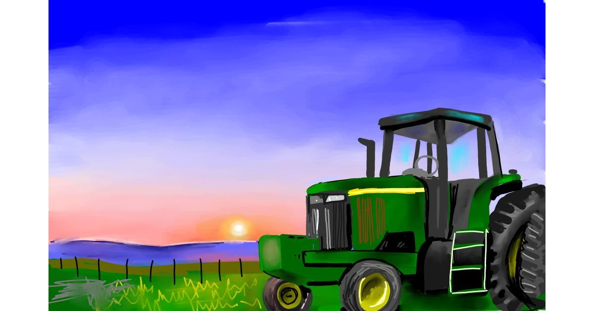 Tractor drawing by Rose rocket
