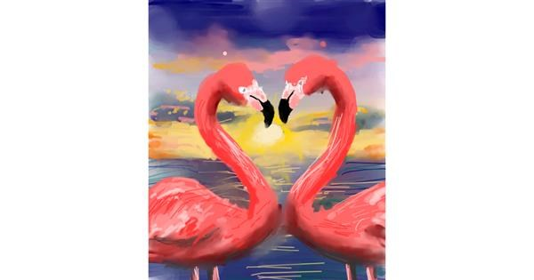 Flamingo drawing by Muni