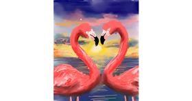 Drawing of Flamingo by Muni
