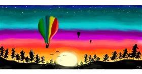 Drawing of Hot air balloon by Sara