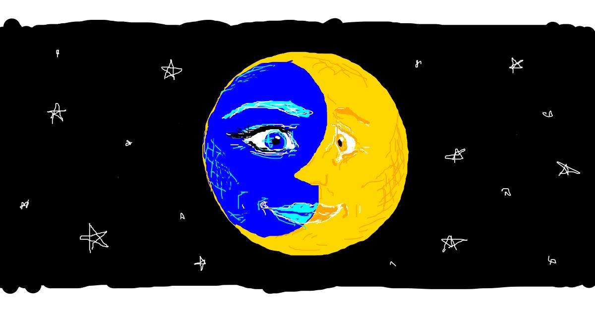Drawing of Moon by Edgie