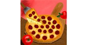 Drawing of Pizza by Lou