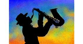 Saxophone drawing by Vely