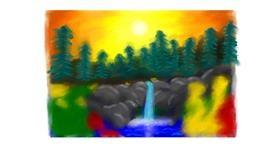 Drawing of Waterfall by Sara