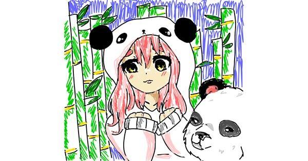 Panda drawing by \(._.)/