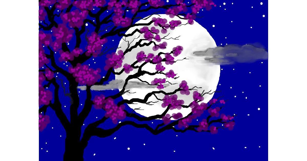 Drawing of Moon by Debidolittle