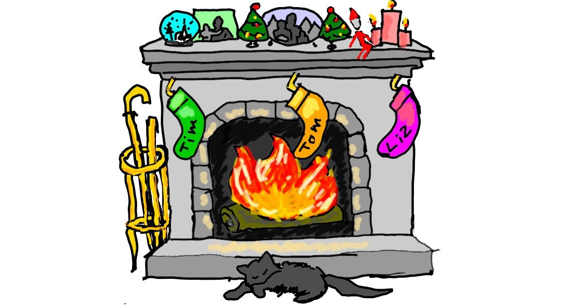 Fireplace drawing by Michelle