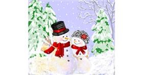 Snowman drawing by Igris