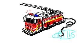 Firetruck drawing by leaf