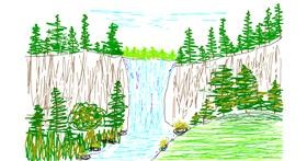 Waterfall drawing by tiny=)
