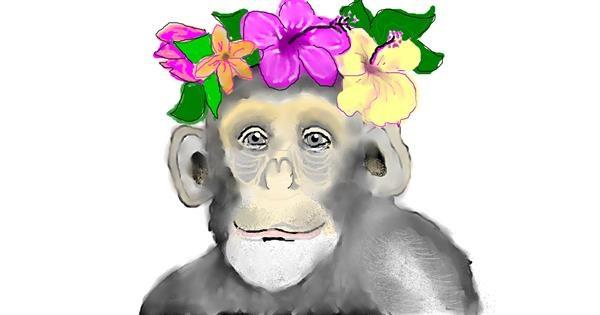 Monkey drawing by Debidolittle