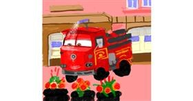 Firetruck drawing by Rak