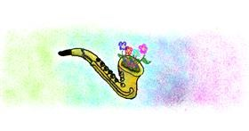 Saxophone drawing by butters