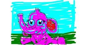 Elephant drawing by m