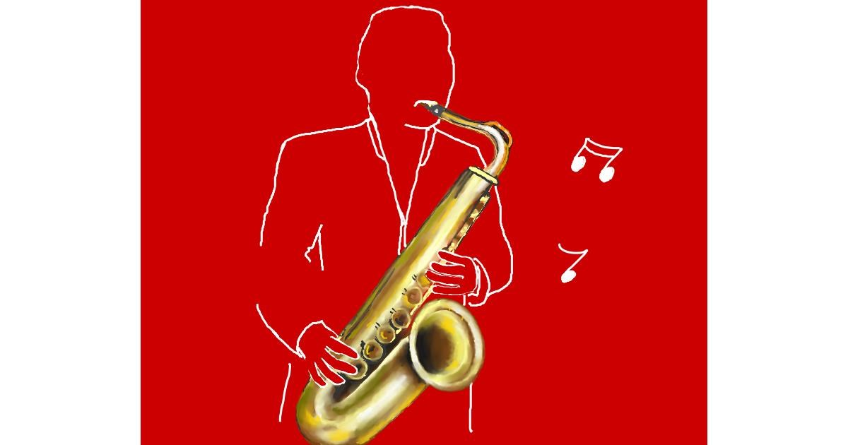 Saxophone drawing by Cec