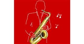 Drawing of Saxophone by Cec