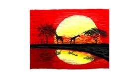 Sunset drawing by Coyote