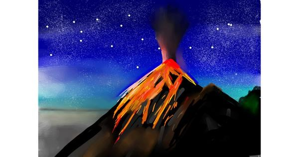 Volcano drawing by Rose rocket