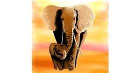 Elephant drawing by Joze