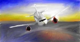 Drawing of Airplane by Soaring Sunshine