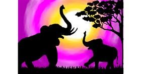 Elephant drawing by Debidolittle