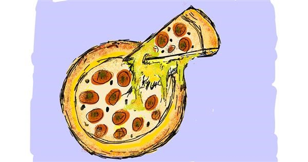 Pizza drawing by Lsk