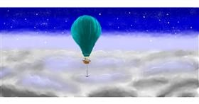Drawing of Hot air balloon by Pinky