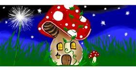Drawing of Mushroom by Debidolittle