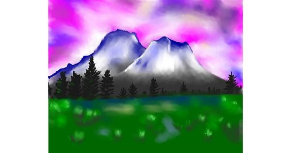 Mountain drawing by Cec