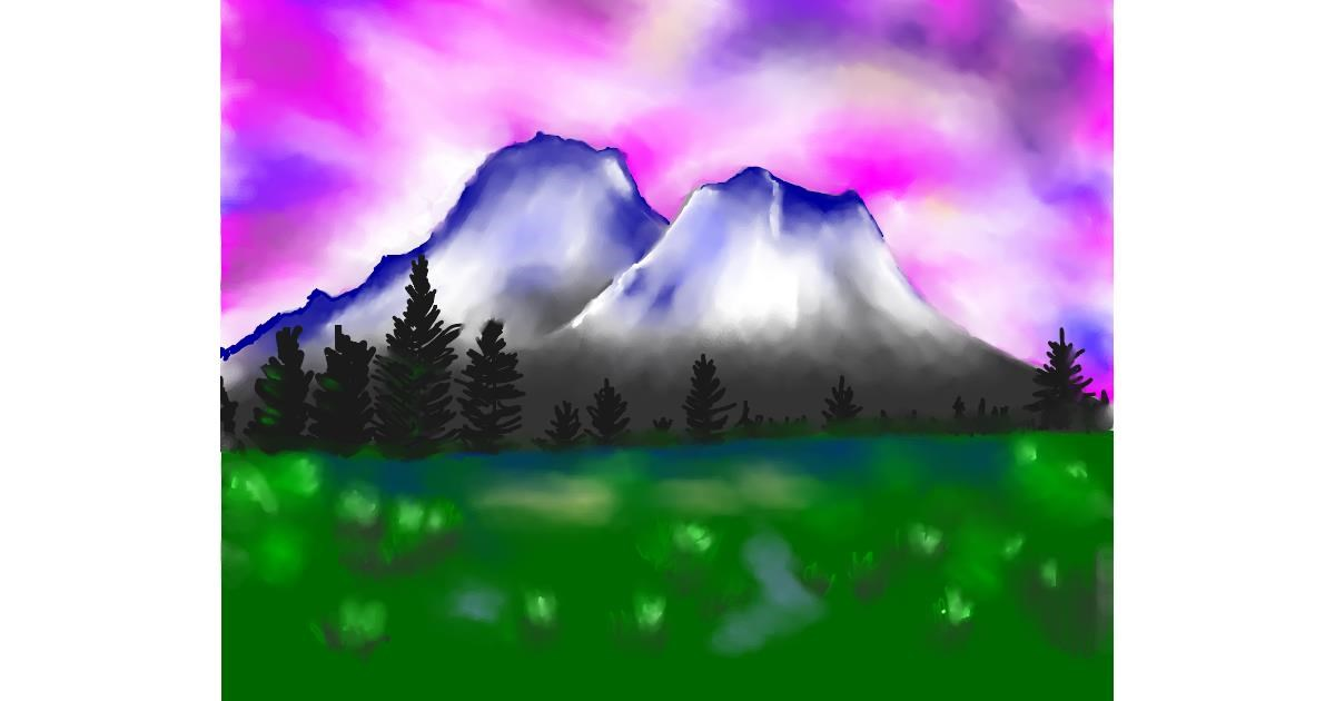 Drawing of Mountain by Cec