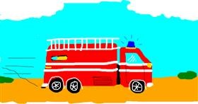 Firetruck drawing by Mary