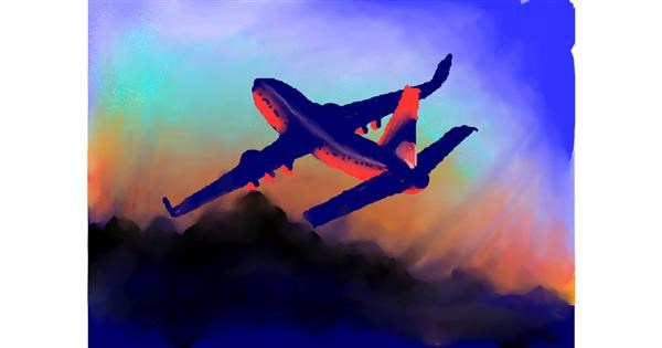Airplane drawing by Zi
