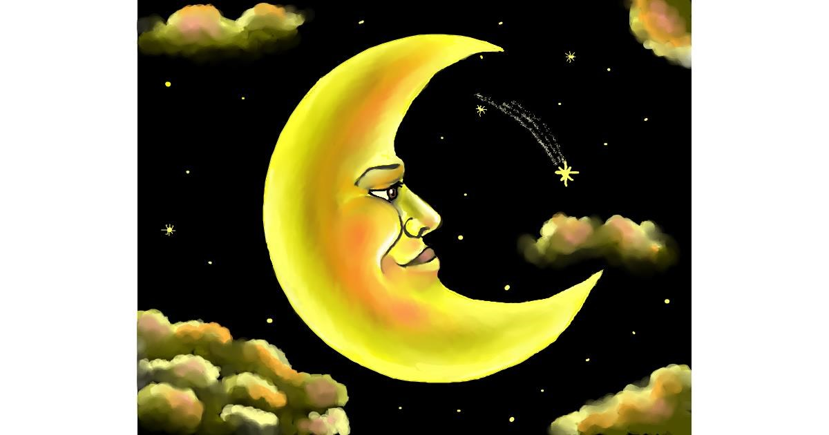 Drawing of Moon by Cec