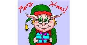 Christmas elf drawing by Michelle