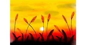 wheat drawing by Burj khalifa