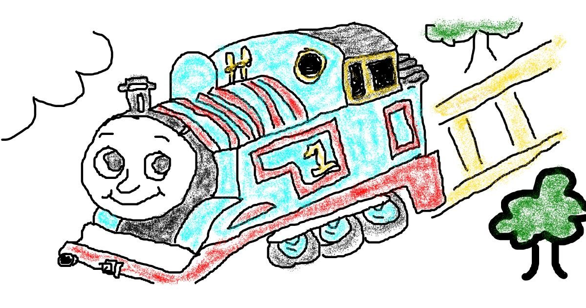 Train drawing by Lou