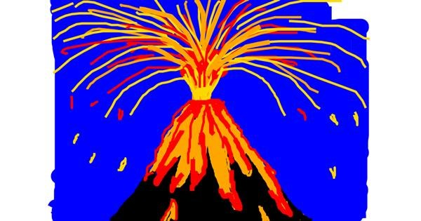 Volcano drawing by Anonymous