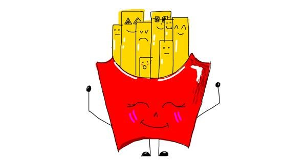 French fries drawing by marie